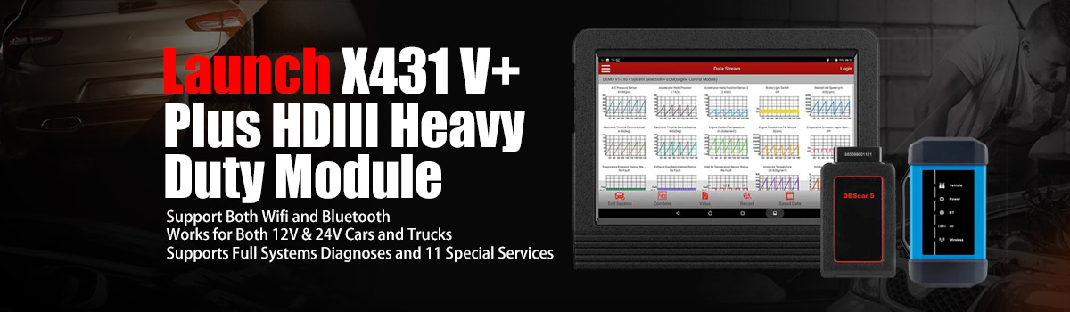Launch X431 V+ Global Version with HD3 Ultimate Heavy Duty Adapter Work for Both 12V & 24V Cars and Trucks