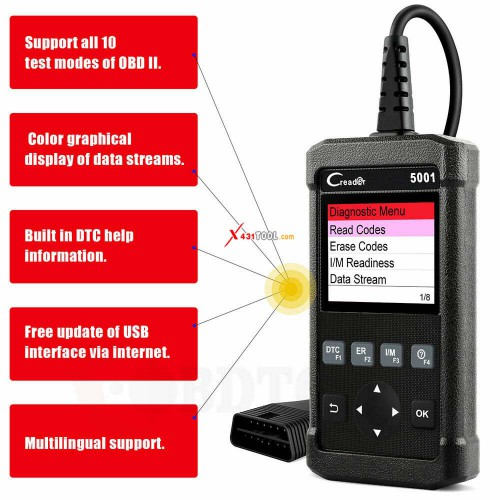 Original LAUNCH CR5001 Full OBDII Engine Code Reader Car OBDII Diagnostic Check Engine Light