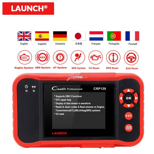 Original LAUNCH Creader CRP129 4 System Code Reader Scanner for ENG/ AT/ ABS/ SRS with Brake/ SAS/ Oil Service Light Reset