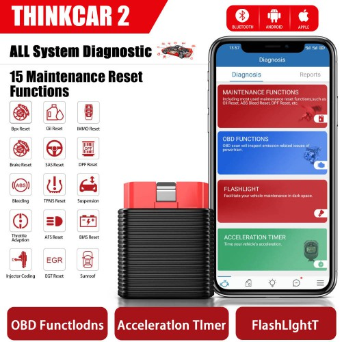 [Ship from US] ThinkCar 2 Thinkdriver Bluetooth OBD2 Scanner for iPhone & Android PK Thinkdiag AP200
